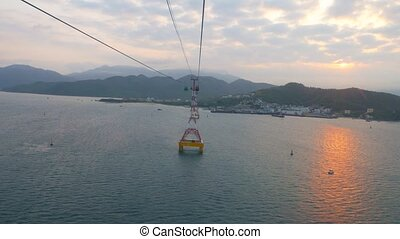 4k uhd Riding in the cabin of Vinpearl cable car over the Nha Trang bay in Vietnam