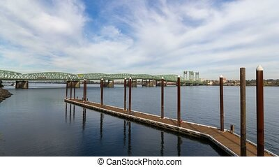4k uhd time lapse of clouds over I-5 Portland Vancouver bridge along Columbia River