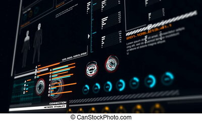 4K UI User Interface Dark blue background with graph bar...