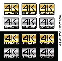 Differents vector 4K logos for Ultra HD certified TV