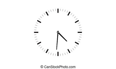 4K (Ultra HD) loopable video animation of timelapse of clock on white background
