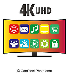 4K Ultra HD Modern Curved Screen Smart TV, vector