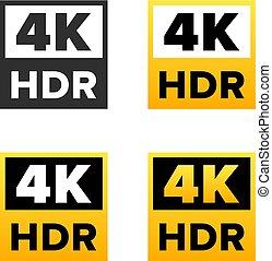 4K Ultra HD sign, set