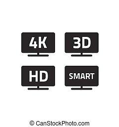 4k, ultra, hd, tv, そして, フルである, hd, テレビ, アイコン, セット, 線, アウトライン, 黒い、そして白い, hd, ビデオ, 紋章, ラベル, ∥ために∥, lcd, ∥あるいは∥, リードした, tv, 平らなスクリーン, 隔離された, 白, 3d, ∥あるいは∥, 痛みなさい, tv, サイン