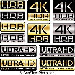 4k, und, ultra, hd, logos, mit, hdr