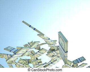 4K US dollar cash slow motion flow