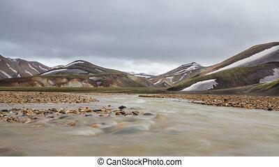 Landmannalaugar, Iceland - 4k Version of long exposure of...