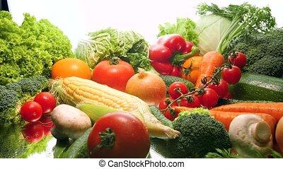 4k vertigo effect video of big assortment of vegetables ...