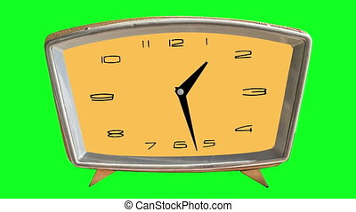 4K video animation of loopable clock on chromakey (green) background