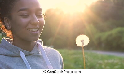 4K video clip of beautiful happy mixed race African American...