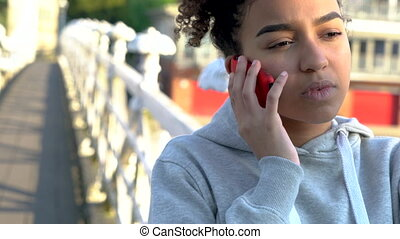 4K video clip of beautiful mixed race African American girl...