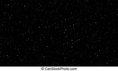 4K Video footage Motion of shinny  stars animation on black background.Graphic Motion overlay effect loop with galaxy sky twinkling light in the space with slow zoom and swirl rotation of camera angel