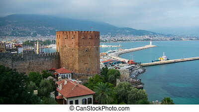 4K video Kizil Kule (Red tower in turkish) - the symbol of alanya