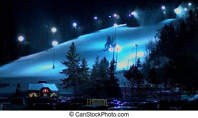 canadian ski resort at night