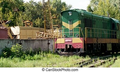 4k video of riding old diesel locomotive train near big ...