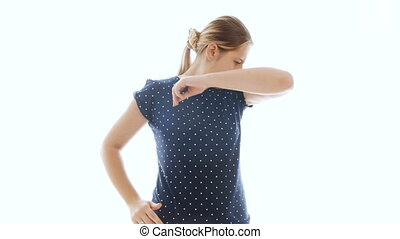4k video of young woman feeling bad smell from armpits needs...