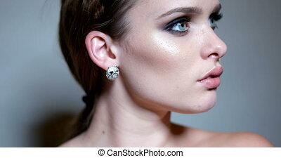 4k video portrait of pretty brunette woman