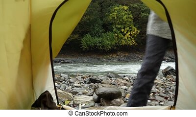 4k. view from a tourist tent on a mountain river. - 4k. view...