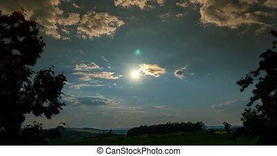 4k, zeit- versehen, tag nacht, mit, sonnenuntergang, und, moonrise, aus, tschechisch, landschaften