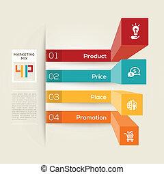4p, negócio, marketing, conceito, ilustração