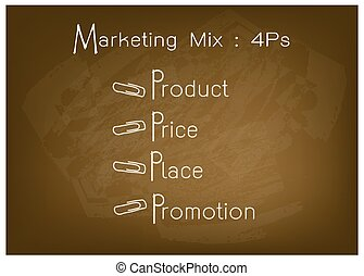 4Ps Marketing Mix Model with Price, Product, Promotion and Place