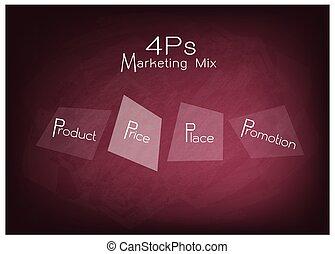 4ps, mercadotecnia, mezcla, diagrama, con, precio, producto, promoción, y, lugar