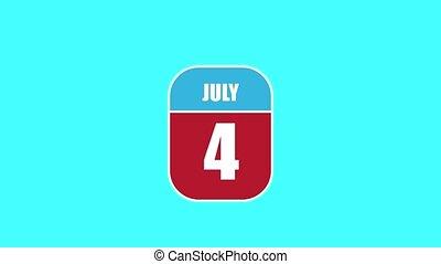 4th., été, 4, sien, année, mois, animation., assemblé, 2d, parts., feuille, composant, calendrier, juillet, jour, concept