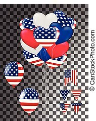 4th, eua, ilustração, experiência., bandeira, vetorial, independência, julho, balões, dia, cartão