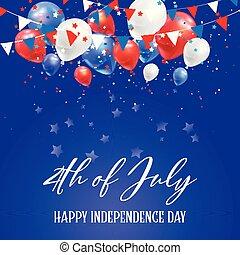 4th, fundo, confetti, julho, balões, dia, independência