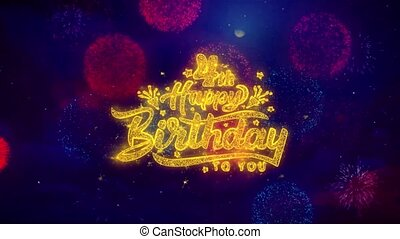 4th Happy Birthday Greeting Text Sparkle Particles on...