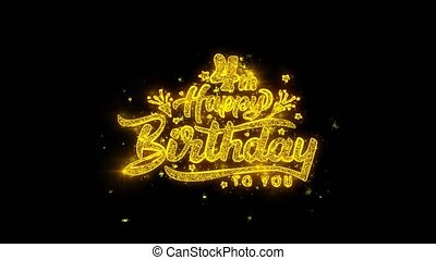 4th Happy Birthday Typography Written with Golden Particles...
