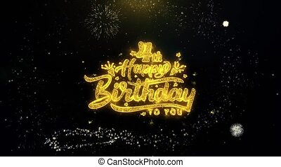 4th Happy Birthday Written Gold Particles Exploding...