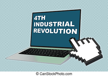 3D illustration of 4TH INDUSTRIAL REVOLUTION script with pointing hand icon pointing at the laptop screen