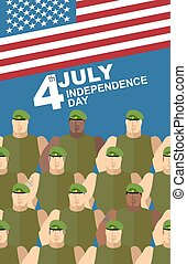 4th july. American independence day. Soldiers in Green Berets. Special forces. American flag. Vector congratulations card