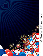 4 th July Background. Festive Firework Display and American Symbols