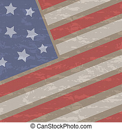 Stars and Stripes grunge background on a rough fabric texture with text reading 4th July and white space for your text. This file is Vector EPS10 and uses transparencies.