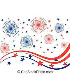 4th july fireworks - illustration of stars, stripes and...