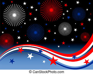 4th july fireworks - illustration of stars, stripes and ...