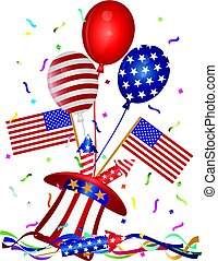4th July Hat Balloons American Flag Firecrackers and Confetti Illustration