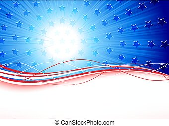 4th july - Independence day background with stars and lines,...