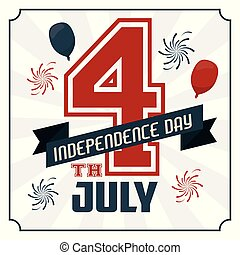 4th july independence day card with american flag colors