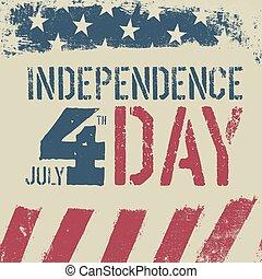 4th July Independence day. Grunge american flag background. Patriotic vintage design template.
