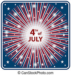 4th July independence day starburst - American flag colors...