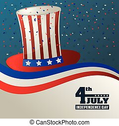 4th july independence day top hat flag usa confetti