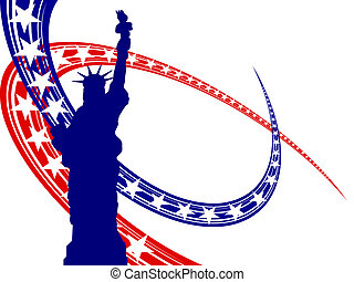 Vector illustration from the statue of liberty on a blue and red background