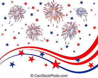Vector illustration of red and blue stars and stripes and fireworks on white background