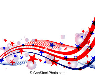vector illustration of red and blue stars and stripes on white background