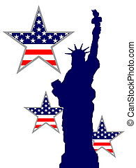 Vector illustration of the statue of liberty and blue and red stars and stripes