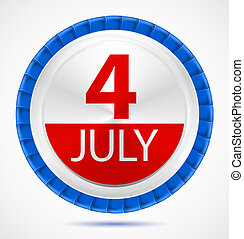 4th July label with ribbons, vector illustration eps10
