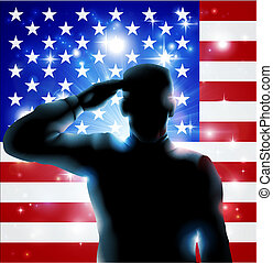 4th July or Veterans Day Illustrati - Patriotic soldier or...